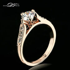 0.5 Carat Round Cut Cubic Zirconia Rings 18K Rose Gold Plated Wedding For Women
