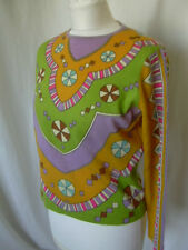MOD PRINT GROOVY BRIGHT 1960s PIN WHEELS SWEATER JUMPER SM-MED.