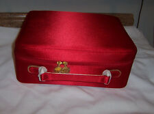 Estee Lauder Red Satin Softside Cosmetics Make Up Train Case Travel Bag NWOT