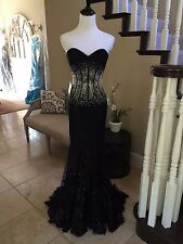 $738 NWT BLACK LACE JASZ COUTURE PROM/PAGEANT/FORMAL DRESS/GOWN #5364 SIZE 0