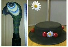 LADIES Mary Poppins inspired  Hat. & parrot head brolly FAST POST OPTION LISTED
