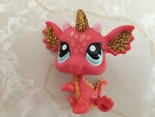 Littlest Pet Shop RARE Dragon #2484 Sparkle Glitter Red Orange New Years Gold