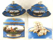 PAIR ANTIQUE FRENCH SEVRES STYLE PORCELAIN TUREENS LOUIS PHILIPPE NAMED CHATEAU