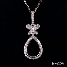 Natural Diamond Semi-Mount Wedding Pendant Pear Cut 9×12mm Solid 18K White Gold