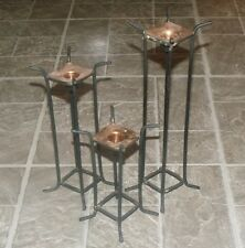 VTG PRIMITIVE WROUGHT IRON COPPER CANDLE HOLDER SCONCE CANDLESTICK TABLE SET ODD