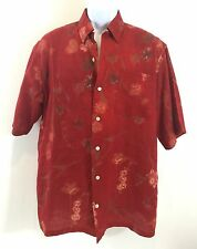 BARRY BRICKEN Men's Short Sleeve Shirt Red Floral 100% Linen Size M