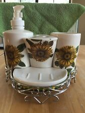 Bathroom Accessories 5 Piece Sunflower Caddy Cup Toothbrush Holder Soap Pump