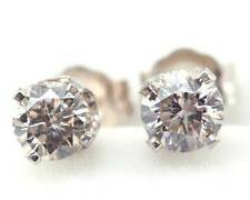 0.70CT Genuine Champagne Diamond 14K 14KT Solid White Gold Earrings Studs