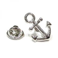 Silver Plated Ships Anchor Design LAPEL PIN Badge Sailor Yacht Present GIFT BOX