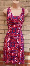 PEACOCKS PINK BLUE TRIBAL AZTEC ETHNIC SUMMER TUBE BODYCON PENCIL DRESS 18