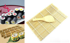 NEW OL AC Sushi Rolling Maker Bamboo Material Roller DIY Mat and A Rice Paddle