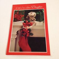 Vintage Greeting Card Christmas Daughter Cat Kitten In Stocking Hallmark