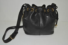 Tignanello Black Leather Bucket Style Purse Satchel Drawstring Cross Body