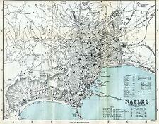 Pianta di Napoli. Carta Topografica.Geografica.Stampa Antica + Passepartout.1882