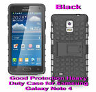 For Samsung Galaxy Note 4 Black Heavy Duty Strong Protective Case Cover Stand