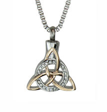 Celtic Trinity Knot Urn Pendant Necklace Rose Gold Plated - Cremation Jewellery