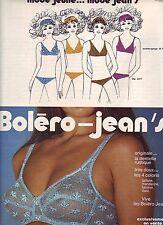 PUBLICITE ADVERTISING 034 1971 BOLERO JEAN'S   soutien gorge