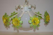 Estate Vintage Tole Toleware Metal Flower Floral Hanging Ceiling Lamp Chandelier
