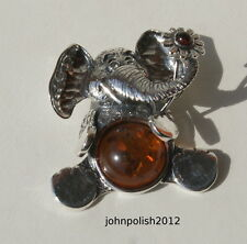 Baltic Amber Baby Elephant with Flower on Silver 925