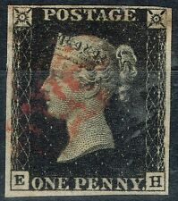 GB 1840 1d Penny Black (E-H) Pl 6 V.F.U 4 Large Margins Red MX