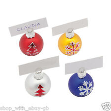 Pack of 4 Christmas Bauble Place Card Holders Winter Wedding Xmas Snowflake New