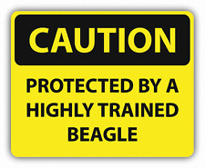 """Caution Protected By Trained Beagle Sign Car Bumper Sticker Decal 5"""" x 4"""""""