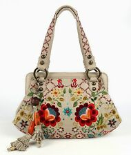 ISABELLA FIORE BOHEMIAN BLOOM CLAUDETTE BEIGE LEATHER FLORAL EMBROIDERED HANDBAG