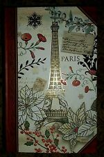 NEW CHRISTMAS EIFFEL TOWER Book Box with Gold Foil Embellishments