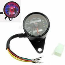 UNIVERSAL MOTORCYCLE BIKE DUAL ODOMETER SPEEDOMETER GAUGE W LED SIGNAL BACKLIGHT
