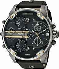 Diesel Men's DZ7348 Mr Daddy 2.0 Black Dial Black Leather Stainless Steel Watch
