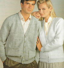 """Ladies Mens Classic Cardigan/Jacket Knitting Pattern DK 32-46"""" with pockets  619"""