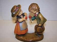 "Anri Juan Ferrandiz Courting 6"" Carved Wood Figurine With Flowers & Heart Italy"