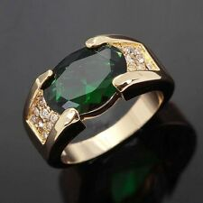 Engagement Wedding Size 11 Emerald Princess Cut 18K Gold Filled Men's Ring Gift