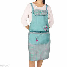 Womens / Ladies Gingham Checked Flower Tree Print Apron Blue Pink Lilac Brown