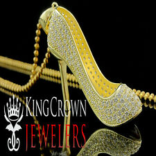 Ladies 10K Yellow Gold Silver Red Bottom Stiletto Heel Lab Diamond Shoe Pendant