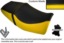 BLACK & YELLOW CUSTOM FITS YAMAHA XJR 400 DUAL LEATHER SEAT COVER ONLY