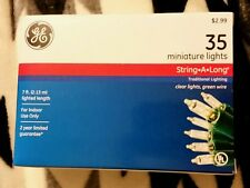 35 GE count Clear LIGHTS Christmas on Green General Electric  NEW *