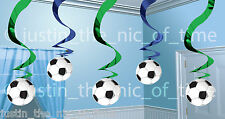 FOOTBALL THEME Boys Happy Birthday Party 2ft Hanging Swirl Decorations x5