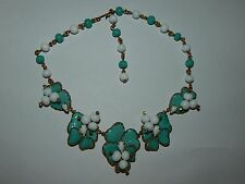 Hattie Carnegie Turquoise Color Mayorka Petals Lampwork & Milk Glass Necklace
