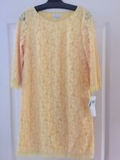 New LONDON TIMES 3/4 Sleeve Yellow Lace Dress Fully Lined Shift Dress Size 8