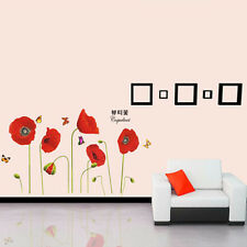 Red Poppy Flowers Wall Stickers Butterflies DIY Art Decals Wallpaper Removable