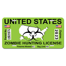 Zombie Hunting Permit Green United States Biohazard Response Team License Plate