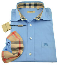$285 BURBERRY London Sky Blue Casual Dress Mens Shirt Size S NEW COLLECTION