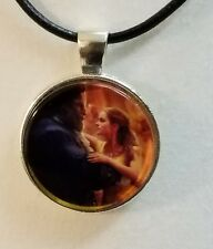 "Disney's ""BEAUTY AND THE BEAST DANCING"" Glass Pendant with Leather Necklace"