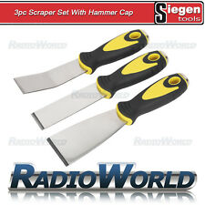 Siegen 3pc Scraper Set Hammer Cap Workshop Bodyshop Gasket Windscreen Scraping