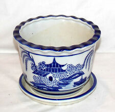 "6"" Ceramic Asian Village & Water Theme Blue & White Scalloped Top Planter Plant"