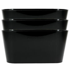 Set of 3 Black Oval Indoor Plant Pot Covers Planters Herb Troughs Window Boxes