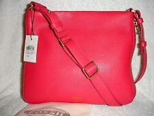 New Fossil Preston Zip Top Leather Crossbody Purse Bag in Bright Pink