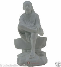 "7.5"" SHIRDI SAI BABA STATUE HANDMADE WHITE POLY MARBLE HOME DECOR ART BEST GIFT"