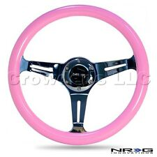 NRG Steering Wheel - Pink Colored Wood - Chrome Spokes - 330 mm - ST-015CH-PK